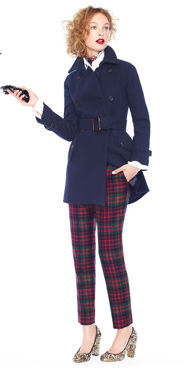 navy trench plaid pants