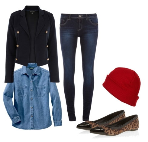 the preppy leopard - red hat